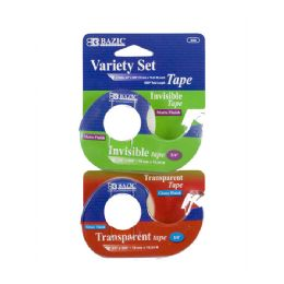 "24 Units of 3/4"" X 600"" Invisible & Transparent Tape Variety Set (2/Pack) - Tape"
