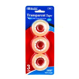 "12 Units of 3/4"" X 1000"" Transparent Tape Refill (3/Pack) - Tape"