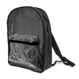 """25 Units of 15"""" Black Clear Front Backpack - Backpacks"""