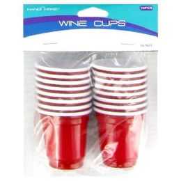72 Units of 16PC PLASTIC SHOT GLASSES RED SOLO CUP SHOT GLASSES - Disposable Cups