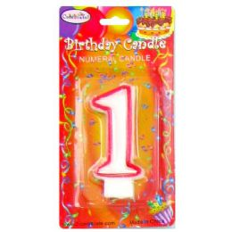 144 Units of B-DAY CANDLE RED NUMERAL #1 - Birthday Candles