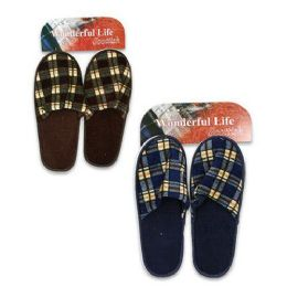 48 Units of MENS CHECKERED SLIPPERS ASSORTED COLORS SIZE S-L - Men's Slippers