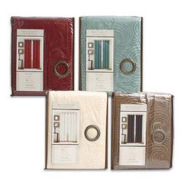 ''24 Units of JACQUARD WINDOW CURTAINS WITH GROMMETS BEIGE, BLUE, MAROON, BROWN - 58in X 84in''
