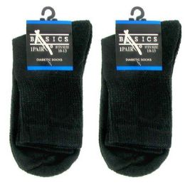 120 Units of Diabetic Crew Socks 10-13 Black Basics Singe Pair - Men's Diabetic Socks