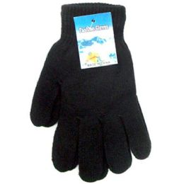 240 Units of Black Magic Gloves Large Size One Size Fits All Stretch Magic Winter G - Knitted Stretch Gloves