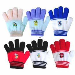 48 Units of 5.5 CHILDS STRIPE GLOVE CARTOON PATC 5 COLORED TIPS - Knitted Stretch Gloves