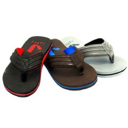 24 Units of BOYS THONG SANDALS SIZE 4-7 BLACK,BROWN GRAY - Boys Flip Flops & Sandals
