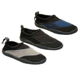 24 Units of Mens Water Shoes Blck, Navy, Taupe Size 7 - 12 - Men's Aqua Socks