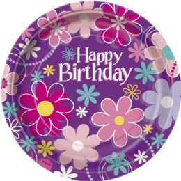 12 Units of Bday Blossom 9In Plate 8Ct - Disposable Plates & Bowls