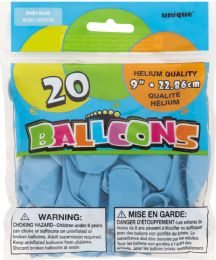 24 Units of Baby Blue Balloons 20 9In - Balloons & Balloon Holder