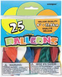 24 Units of Balloons 9'' Helium Asst 20Ct - Balloons & Balloon Holder
