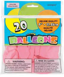 24 Units of Balloons Petal Pink 20Ct 9In - Balloons & Balloon Holder