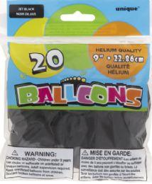 24 Units of Jet Black Balloons 9In 20Ct - Balloons & Balloon Holder
