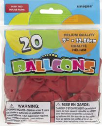 24 Units of Balloon 9In 20Ct Ruby Red - Balloons & Balloon Holder