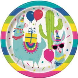 12 Units of Llama Birthday 9In Plate 8Ct - Disposable Plates & Bowls