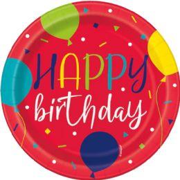 12 Units of Blln Prty Bday 7'' Plt 8Ct - Balloons & Balloon Holder