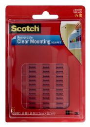 12 Units of 3M Scotch Removable Clear Mounting Squares - Tape & Tape Dispensers