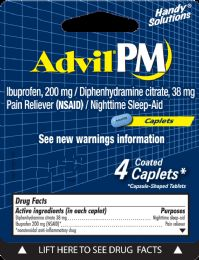 12 Units of Advil Pm 4Ct Caplets - Pain and Allergy Relief