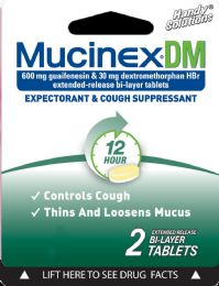 12 Units of Mucinex Dm 2Ct Tablets - Pain and Allergy Relief