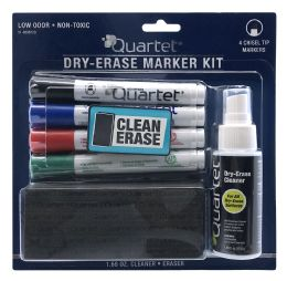 6 Units of Quartet Standard Chisel Tip DrY-Erase Markers Accessory Kit, Assorted Colors, 4 Pack - Markers and Highlighters