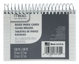 12 Units of Mead® Wirebound Ruled Index Cards - Dividers & Index Cards