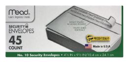 12 Units of Mead Security Envelopes 45 Count - Envelopes