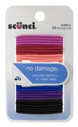 6 Units of Scunci No Damage Small Hair Elastics Bright Colors, 34-Count - Hair Rollers