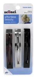 12 Units of Scunci Effortless Beauty Thick Hair Open Slide Barrettes, 3-Count - Hair Rollers
