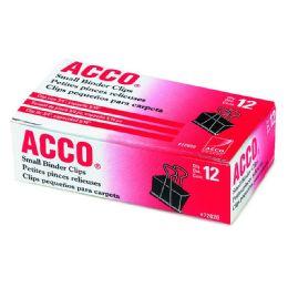 12 Units of Acco Binder Clips, Small, Black, 12/box - Binders