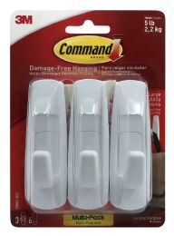 4 Units of 3m Command Large Utility Hooks MultI-Pack, Holds 5lb, White, 3 Hooks & 6 Strips/pack - Hooks