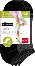 6 Units of Cush No Show Black 9 12 - Socks & Hosiery