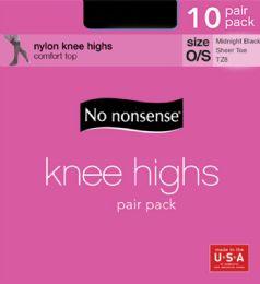 6 Units of Knee Hi Sandfoot Blk 10pk - Socks & Hosiery