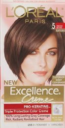 6 Units of L'Oreal Paris Excellence Crme Permanent Triple Protection Hair Color, 5 Medium Brown, 1 Kit - Hair Products
