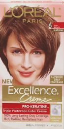 6 Units of L'Oreal Paris Excellence Crme Permanent Triple Protection Hair Color, 6 Light Brown, 1 Kit - Hair Products