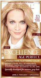 6 Units of L'oreal Paris Age Perfect Permanent Hair Color, 8n Medium Natural Blonde, 1 Kit - Hair Products