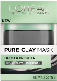 6 Units of L'Oreal Paris Pure-Clay Mask Detox & Brighten With Charcoal For Dull Skin, , 1.7 Oz. - Skin Care