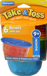 6 Units of Bowl Take Toss 8oz W/lid 6pk - Baby Accessories