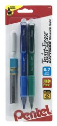 12 Units of TwisT-Erase Express Mechanical Pencil (0.7mm) Assorted Barrel Colors With Lead And Eraser 2-pk - Markers and Highlighters