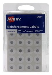 12 Units of Avery SelF-Adhesive Reinforcement Labels, 1/4 Inch Round, 560 Labels - Office Accessories