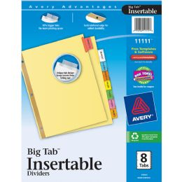 24 Units of Avery Big Tab Insertable Dividers, Buff Paper, 8-Tab Set, Multicolor - Dividers & Index Cards