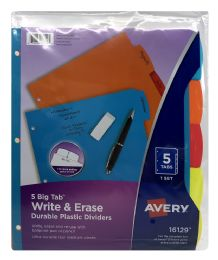 24 Units of Avery Big Tab Write & Erase Durable Plastic Dividers, 5-Tab Set, Multicolor - Dividers & Index Cards