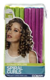 6 Units of Conair Styling Essentials Spiral Rollers Set, 18-Count - Hair Rollers