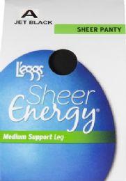 6 Units of Leggs Sheer Energ Jet Blk St A - Womens Thigh High Stocking