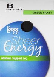 6 Units of Leggs Sheer Energy St J/blk B - Womens Thigh High Stocking