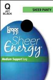 6 Units of Leggs Sheer Energy St J/blk Q - Womens Thigh High Stocking