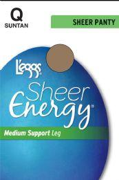 6 Units of Leggs Sheer Energy St Suntan Q - Womens Thigh High Stocking
