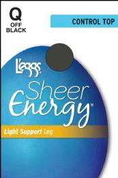 6 Units of Leggs Sh.Energy Ct St Of/Blk Q - Womens Pantyhose
