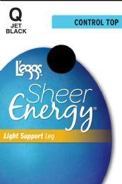 6 Units of Leggs Sh Energy Ct St J/Blk Q - Womens Pantyhose