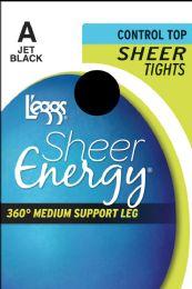 6 Units of Leggs Shr/Enrgy Tghts Jetblk A - Womens Pantyhose
