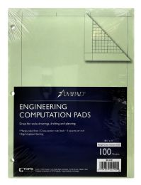 10 Units of Ampad Engineering Computation Pad, Cross-Section Rule (5 X 5), Green Tint Paper - Note Books & Writing Pads